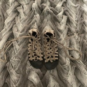 Free People Grey Lace Up Sandals